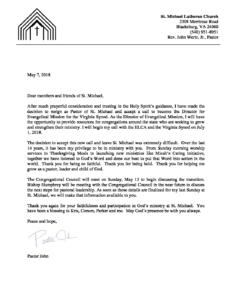 Pastor John Resignation Letter May 8 2018 St Michael Lutheran